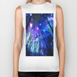 black trees purple blue space Biker Tank