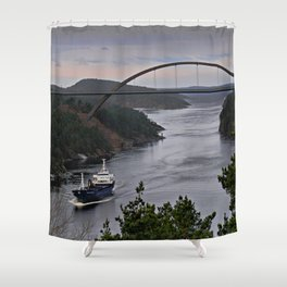 Ship sailing Ringdalfjord between Norway and Sweden II Shower Curtain