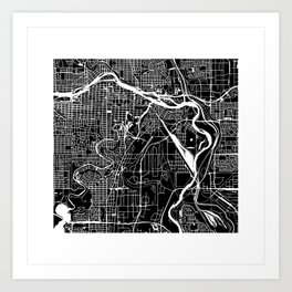 CALGARY MAP ART (BLACK) Art Print