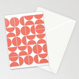 Mid Century Modern Geometric 04 Living Coral Stationery Cards
