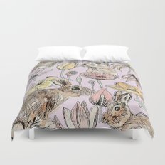 rabbits and flowers with color Duvet Cover