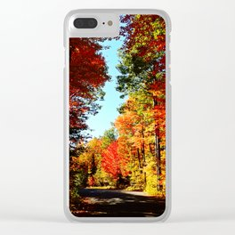 Fall Forest Road Clear iPhone Case