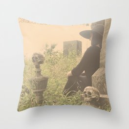 Catacomb Culture - Graveyard Witch Throw Pillow
