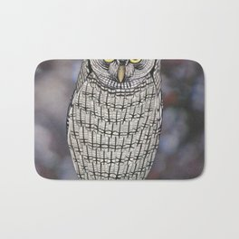 eastern screech owl on a branch Bath Mat