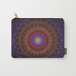Mandala in blue,red and orange tones Carry-All Pouch