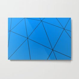 Blue low poly displaced surface with black lines Metal Print