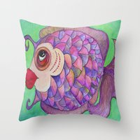 wasted rita Throw Pillows featuring RITA by Caribbean Critters Co.