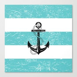 Vintage anchor beach background Canvas Print