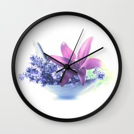Summer flower pattern lilies and lavender Wall Clock