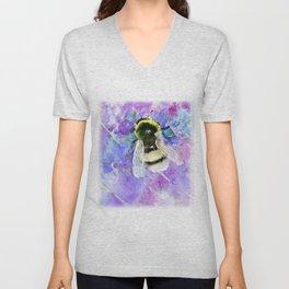 Bumblebee and Lavender Flowers Herbal Bee Honey Purple Floral design Unisex V-Neck
