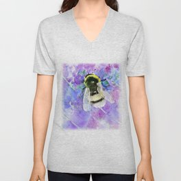 Bumblebee and Lavender Flowers Herbal Bee Honey Purple Floral design Unisex V-Neck