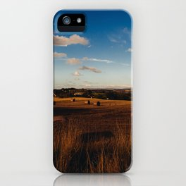 haystacks in autumn iPhone Case