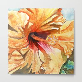 Tropical Yellow Hibiscus Metal Print