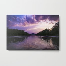 lincoln memorial at sunset from the reflecting pool Metal Print