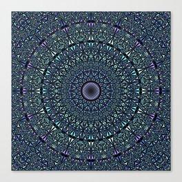 Blue Sacred Kaleidoscope Mandala Canvas Print