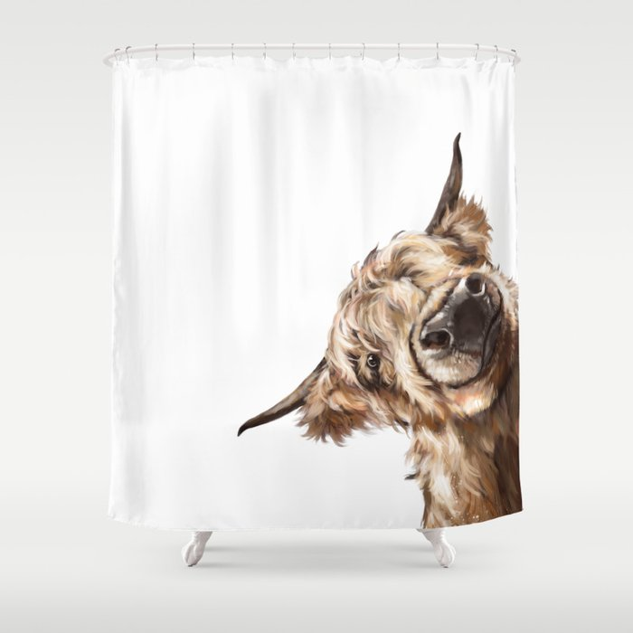 Sneaky Highland Cow Shower Curtain