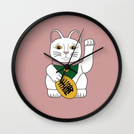 Maneki Neko - lucky cat - pink Wall Clock