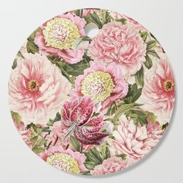 Vintage & Shabby Chic Floral Peony & Lily Flowers Watercolor Pattern Cutting Board