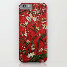Abstract Daisy With Red Background iPhone Case
