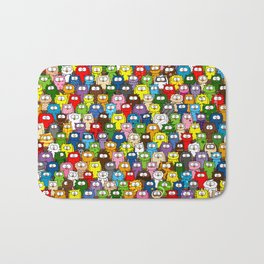 colorful crowd of owls Bath Mat