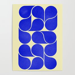 Blue mid-century shapes no8 Poster