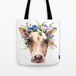 Cow Head, Floral Farm Animal Artwork farm house design, cattle Tote Bag
