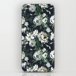Hand painted blush pink white green watercolor floral iPhone Skin