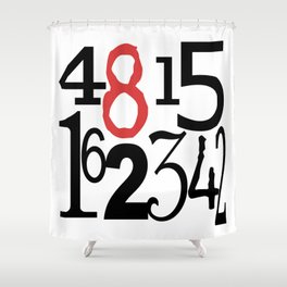 The Numbers in White Shower Curtain