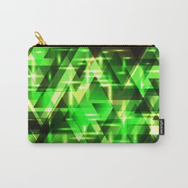 Spring gentle green horizontal strict stripes of sparkling grass triangles. Carry-All Pouch