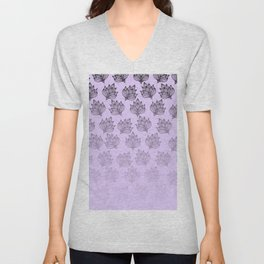 Abstract hand painted black lavender ombre floral Unisex V-Neck