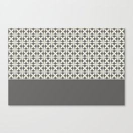 Pantone Cannoli Cream Square Petal Pattern on Pantone Pewter Canvas Print
