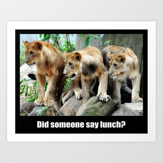 Lunch Time for Lion Cubs Poster Art Print