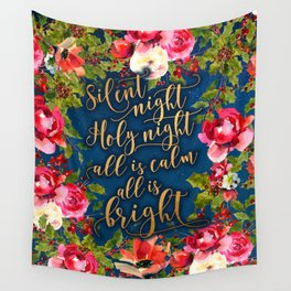 Silent night, pink florals and calligraphy Wall Tapestry