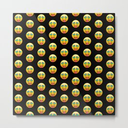 Smiling Face with Rainbow Heart-Eyes Tongue Out Gay Emoji Pattern   Pop Art Metal Print