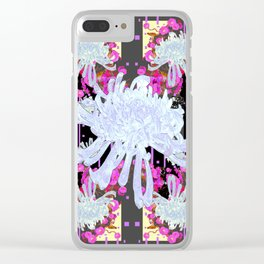 Black & Grey  Decorative Modern White Mums Patterns Flowers Clear iPhone Case