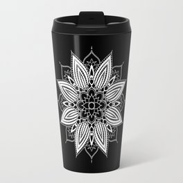 Black and White Flower Mandala Travel Mug