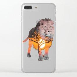 LION poster, Savanna canvas, Clear iPhone Case