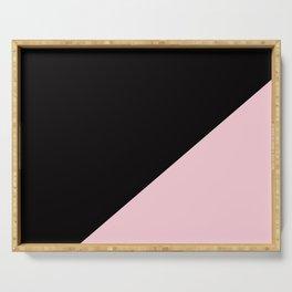 Black & Soft Pink - oblique Serving Tray