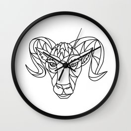 Bighorn Sheep Ram Mosaic Black and White Wall Clock