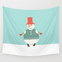 snowman Wall Tapestries featuring Snowman by Mr and Mrs Quirynen