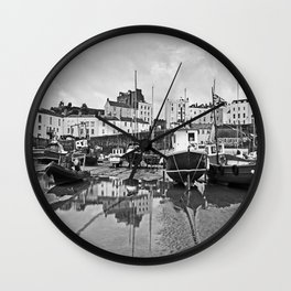 Tenby Harbour Boats.Pembrokeshire.B+W. Wall Clock