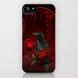 Wonderful crow with roses iPhone Case