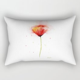 Red Poppy Flower Watercolor Abstract Poppies Floral Rectangular Pillow