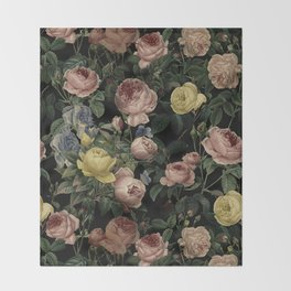 Vintage Roses and Iris Pattern - Dark Dreams Throw Blanket