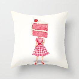 Cake Head Pin-Up - Cherry Throw Pillow