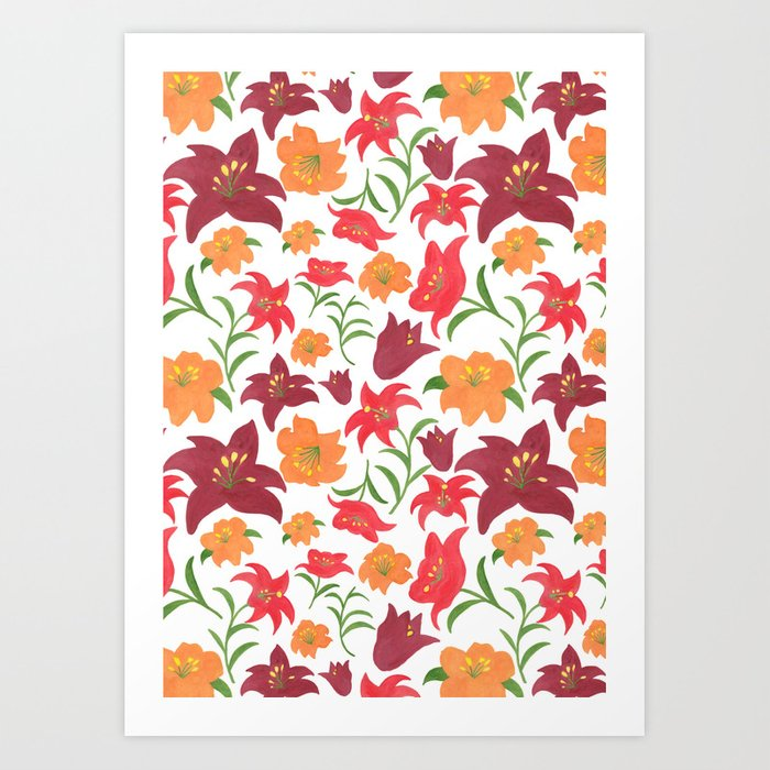 The Lilies in Red Art Print