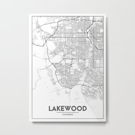 Minimal City Maps - Map Of Lakewood, Colorado, United States Metal Print