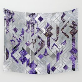 Yoga Asanas in Amethyst on geometric pattern Wall Tapestry