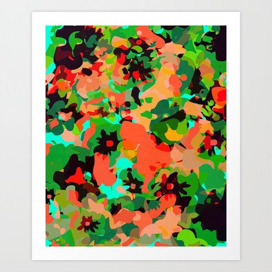 ALL FOR FLOWERS- GREEN Art Print