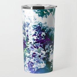Watercolor Floral Teal Purple Green Travel Mug